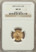 Modern Bullion Coins, 2009 $5 Tenth-Ounce Gold Eagle MS70 NGC. NGC Census: (0). PCGSPopulation (21). Numismedia Wsl. Price for problem free NGC...