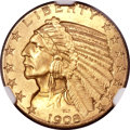 Indian Half Eagles, 1908 $5 MS65+ NGC. CAC....