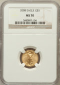 Modern Bullion Coins, 2008 G$5 Gold 1/10 Oz Gold Eagle MS70 NGC. NGC Census: (0). PCGSPopulation (60)....