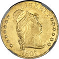 Early Half Eagles, 1807 $5 Bust Right AU55 NGC. CAC. BD-4, High R.4....