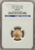 Modern Bullion Coins, 2009 G$5 Tenth-Ounce American Eagle Gold, Early Releases MS70 NGC.NGC Census: (0). PCGS Population (0)....