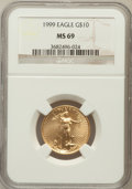 Modern Bullion Coins: , 1999 G$10 Quarter-Ounce Gold Eagle MS69 NGC. NGC Census: (841/68).PCGS Population (1176/11). Numismedia Wsl. Price for pr...