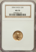 Modern Bullion Coins, 2006 G$5 Tenth-Ounce Gold Eagle MS70 NGC. NGC Census: (0). PCGSPopulation (129). ...
