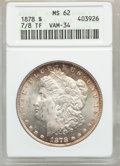 Morgan Dollars: , 1878 7/8TF $1 Strong MS62 ANACS. Vam-34. NGC Census: (880/2612).PCGS Population (1148/4055). Mintage: 544,000. Numismedia...