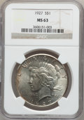 Peace Dollars: , 1927 $1 MS63 NGC. NGC Census: (1511/1082). PCGS Population(2283/1966). Mintage: 848,000. Numismedia Wsl. Price for problem...