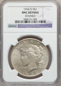 Peace Dollars: , 1934-D $1 -- Stained -- NGC Details. UNC. NGC Census: (37/3357).PCGS Population (58/4375). Mintage: 1,569,500. Numismedia ...