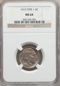 Buffalo Nickels: , 1913 5C Type One MS64 NGC. NGC Census: (2027/3833). PCGS Population(3527/5368). Mintage: 30,993,520. Numismedia Wsl. Price...