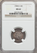 Barber Dimes: , 1908-D 10C MS62 NGC. NGC Census: (26/92). PCGS Population (20/86).Mintage: 7,490,000. Numismedia Wsl. Price for problem fr...