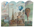 Antiques:Decorative Americana, Four-Panel Hand-Painted Ballooning Room Screen. ...