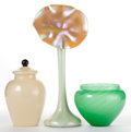 Art Glass:Steuben, A STEUBEN GREEN JADE VASE, AN IRIDESCENT JACK-IN-THE-PULPIT VASEAND A COVERED GINGER JAR . 20th century. 18 inches high (45...(Total: 3 Items)