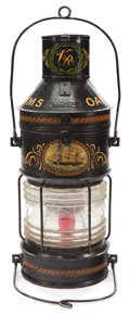 Maritime:Decorative Art, VICTORIAN HAND PAINTED NAUTICAL ANCHOR LANTERN. Circa 1885. 27 x 12x 12 inches (68.6 x 30.5 x 30.5 cm). Painted with tall...