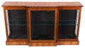 Furniture : English, A LATE VICTORIAN MAHOGANY AND SATINWOOD MARQUETRY GLAZED DISPLAY CABINET . Circa 1900. 34-1/4 x 64 x 15-1/2 inches (87.0 x 1...