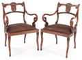 Furniture : American, A PAIR OF ENGLISH FAUX PAINTED ARMCHAIRS . 20th century. 35 x23-1/2 x 21 inches (88.9 x 59.7 x 53.3 cm). ... (Total: 2 Items)