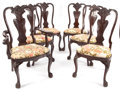 Furniture : American, A SET OF FIVE GEORGE III-STYLE UPHOLSTERED MAHOGANY SIDE CHAIRS ANDONE ARMCHAIR . 20th century. 52-1/2 x 29-3/4 x 20-1/2 in... (Total:6 Items)