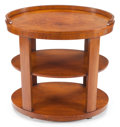 Furniture : English, AN ENGLISH ART DECO WALNUT THREE-TIER TABLE . Circa 1930. 34-1/2 x34-1/2 x 23 inches (87.6 x 87.6 x 58.4 cm). ...