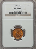 Indian Cents: , 1901 1C MS64 Red and Brown NGC. NGC Census: (331/196). PCGSPopulation (451/102). Mintage: 79,611,144. Numismedia Wsl. Pric...