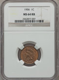 Indian Cents: , 1906 1C MS64 Red and Brown NGC. NGC Census: (364/191). PCGSPopulation (538/116). Mintage: 96,022,256. Numismedia Wsl. Pric...