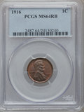 Lincoln Cents: , 1916 1C MS64 Red and Brown PCGS. PCGS Population (288/119). NGCCensus: (143/109). Mintage: 131,833,680. Numismedia Wsl. Pr...