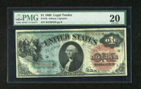 Fr. 18 $1 1869 Legal Tender PMG Very Fine 20. This nice Rainbow Ace has a small split at left