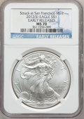 Modern Bullion Coins, 2012(-S) $1 One Ounce Silver Eagle, Struck at San Francisco Mint,Early Releases MS70 NGC. NGC Census: (23563). PCGS Popula...