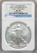 Modern Bullion Coins, 2011-W $1 One Ounce Silver Eagle, Early Releases, 25th AnniversarySet MS70 NGC. NGC Census: (8769). PCGS Population (611)....