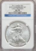 Modern Bullion Coins, 2011 $1 One Once Silver Eagle, Early Releases, 25th Anniversary SetMS70 NGC. NGC Census: (1798). PCGS Population (657)....