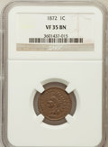 Indian Cents: , 1872 1C VF35 NGC. NGC Census: (29/428). PCGS Population (64/520).Mintage: 4,042,000. Numismedia Wsl. Price for problem fre...