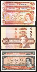 Canadian Currency: , Canadian Deuces 1954, 1974, and 1986.. ... (Total: 8 notes)