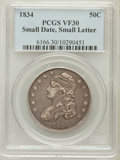 Bust Half Dollars, 1834 50C Small Date, Small Letters VF30 PCGS. PCGS Population(39/878). NGC Census: (0/0)....