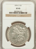 Morgan Dollars: , 1894-S $1 XF45 NGC. NGC Census: (80/2282). PCGS Population(101/3706). Mintage: 1,260,000. Numismedia Wsl. Price for proble...