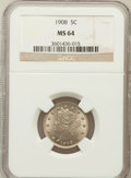 Liberty Nickels: , 1908 5C MS64 NGC. NGC Census: (199/66). PCGS Population (229/87).Mintage: 22,686,176. Numismedia Wsl. Price for problem fr...