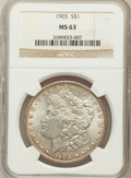 Morgan Dollars: , 1903 $1 MS63 NGC. NGC Census: (2135/7157). PCGS Population(2736/8200). Mintage: 4,652,755. Numismedia Wsl. Price for probl...
