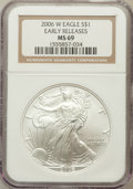 Modern Bullion Coins, 2006-W $1 One Ounce Silver Eagle Early Releases MS69 NGC. NGCCensus: (0/0). PCGS Population (0/0)....