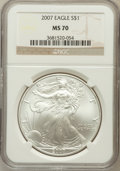 Modern Bullion Coins, 2007 $1 One Ounce Silver Eagle MS70 NGC. NGC Census: (5141). PCGSPopulation (532). Numismedia Wsl. Price for problem free...