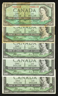 Canadian Currency: , BC-29a $1 1954 Devil's Face Three Examples;. BC-37b-i $1 1954;.BC-37c $1 1954.. ... (Total: 5 notes)