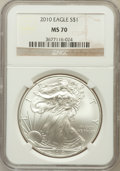 Modern Bullion Coins, 2010 $1 One Ounce Silver Eagle MS70 NGC. NGC Census: (4402). PCGSPopulation (45870). Numismedia Wsl. Price for problem fr...