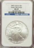 Modern Bullion Coins, 2007 $1 One Ounce Silver Eagle Early Releases MS69 NGC. NGC Census:(0/0). PCGS Population (14112/75)....