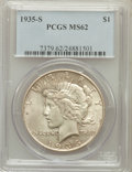 Peace Dollars: , 1935-S $1 MS62 PCGS. PCGS Population (541/3189). NGC Census:(369/1982). Mintage: 1,964,000. Numismedia Wsl. Price for prob...