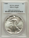 Modern Bullion Coins, 1989 $1 One Ounce Silver Eagle MS69 PCGS. PCGS Population (4771/0).NGC Census: (92032/346). Mintage: 5,203,327. Numism...