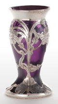 Art Glass:Loetz, AN IRIDESCENT GLASS VASE WITH SILVER OVERLAY IN THE MANNER OF LOETZAND LA PIERRE . Circa 1900. 4 inches high (10.2 cm). ...