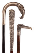 Decorative Arts, Continental:Other , GROUP OF THREE FIGURAL CANES: SILVER AND WOOD, TWO SILVER PLATEDAND WOOD. Circa 1900. 37-1/2 inches length overall of knob...(Total: 3 Items)