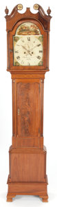 Furniture : English, A RICHARDSON GEORGE III-STYLE MAHOGANY LONGCASE CLOCK. Circa 1830.Marks: W. Richardson, Selby. 87-1/4 inches high (221....(Total: 3 Items)
