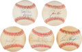 Baseball Collectibles:Balls, Baseball Hall of Famers Single Signed Baseballs Lot of 5....