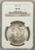Morgan Dollars: , 1882 $1 MS64 NGC. NGC Census: (6236/1402). PCGS Population(4814/1436). Mintage: 11,101,100. Numismedia Wsl. Price for prob...