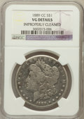 Morgan Dollars, 1889-CC $1 -- Improperly Cleaned -- NGC Details. VG. NGC Census:(166/3108). PCGS Population (255/4769). Mintage: 350,0...