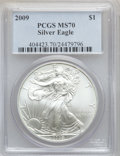 Modern Bullion Coins, 2009 $1 One Ounce Silver Eagle MS70 PCGS. PCGS Population (20745).NGC Census: (4486). Numismedia Wsl. Price for problem f...