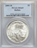 Modern Issues: , 2001-D $1 Buffalo Silver Dollar MS69 PCGS. PCGS Population(13647/753). NGC Census: (11106/1613). Numismedia Wsl. Price fo...