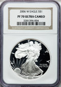 Modern Bullion Coins, 2006-W $1 One Ounce Silver Eagle PR70 Ultra Cameo NGC. NGC Census:(17417). PCGS Population (2197)....