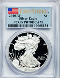 Modern Bullion Coins, 2010-W $1 One Ounce Silver American Eagle, First Strike PR70 DeepCameo PCGS. PCGS Population (15442). NGC Census: (21252)....