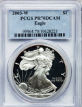 Modern Bullion Coins, 2003-W $1 One Ounce Silver Eagle PR70 Deep Cameo PCGS. PCGSPopulation (1380). NGC Census: (7618). Numismedia Wsl. Price f...